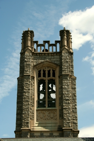 Church bell tower with blue sky