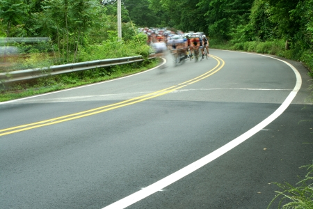 A bicycle road race showing motion