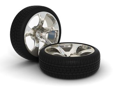 chrome wheels: 3d render of detailed chrome wheels