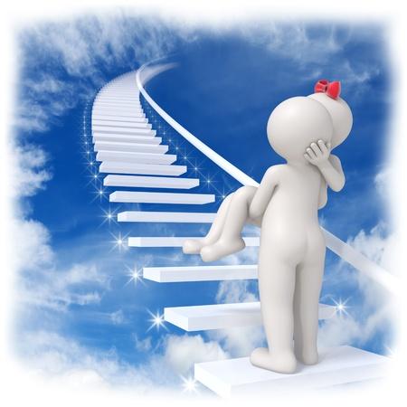 parejas caminando: 3d hombre llevando a su mujer hasta el cielo en las escaleras con las estrellas brillantes