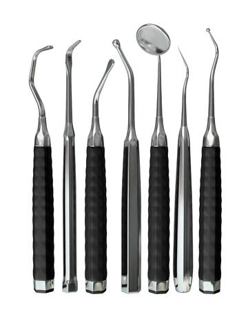 medische instrumenten: Fotorealistische zeer gedetailleerde tandheelkundige instrumenten geïsoleerd