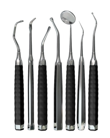 dental hygiene: Photorealistic highly detailed dental instruments isolated