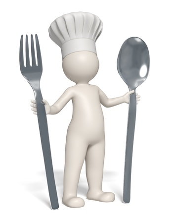 restaurant staff: 3d rendered restaurant symbol - Chef standing with fork and spoon in his hands - Isolated Stock Photo