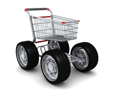 Shopping cart with Big wheels isolated on white photo