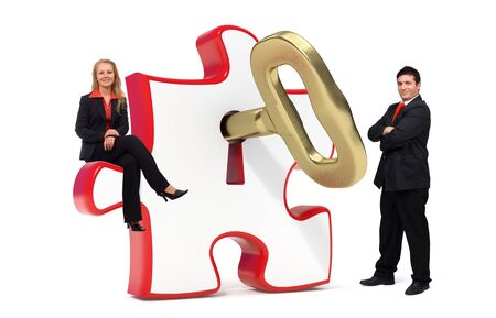 golden key: 3d illustration of a red puzzle and a gold key in it combined with a photo of a young smiling business team - Isolated