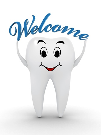 dental health: Healthy tooth holding a welcome text Stock Photo