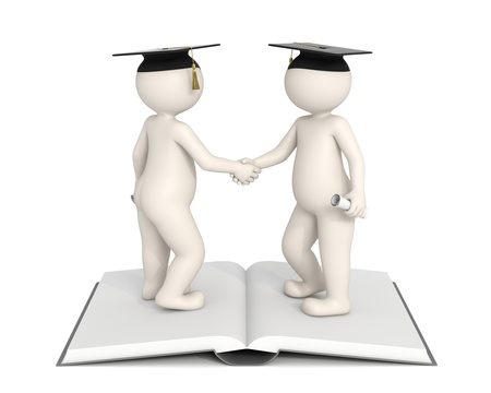 humanoid: 3d people shaking hands and gratulating for each others graduation