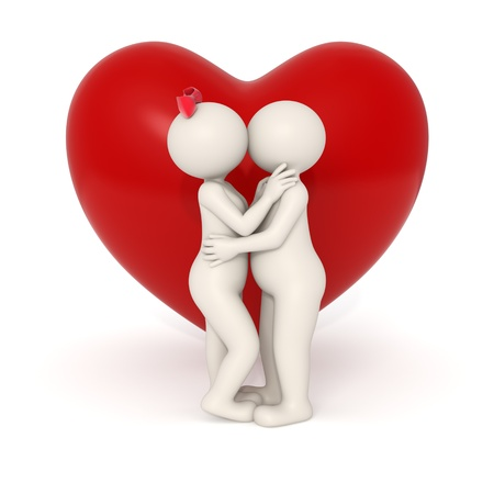3d couple kissing and hugging each other in front of a big heart - Isolated
