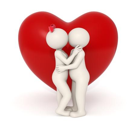 innamorati che si baciano: Coppia 3d baciare e abbracciare l'altro di fronte a un grande cuore - Isolato