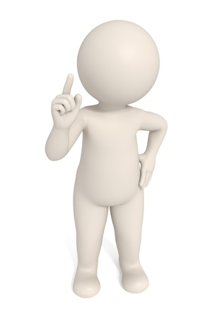 3d man pointing to pay attention - Isolated - DOF Stock Photo