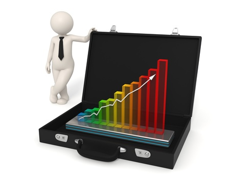 3d man presents business growth in a hologram graph placed in his briefcase - Isolated Stock Photo - 10788706