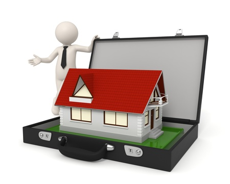 real people: 3d business man presenting a house - Isolated