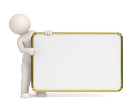 humanoid: 3d man pointing to empty board with Gold frame - Copyspace - Isolated