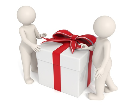 3d men opening a white gift box - Isolated - DOF