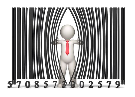 inventories: 3d guy opening a virtual bar code - Isolated