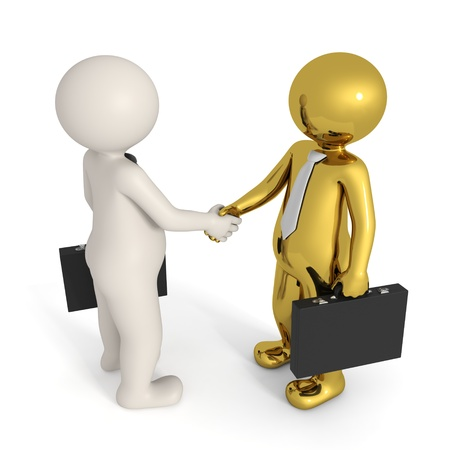 two people meeting: 3d busines people making a deal and shaking hands - Isolated Stock Photo