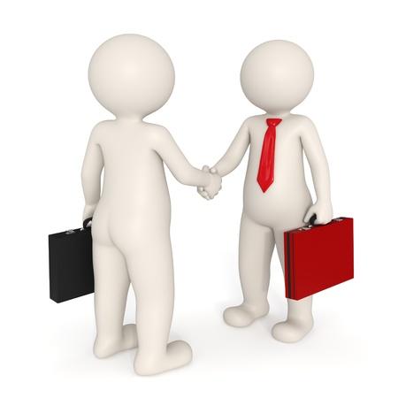 contrato de trabajo: Personas 3d de negocios hacer un trato y estrechar la mano - Aislados