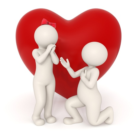 3d guy making a romantic marriage proposal in front of a big heart - Isolated