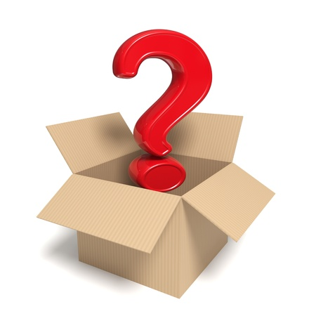 3d rendered red question mark in an open box - Isolated icon Stock Photo - 10788711