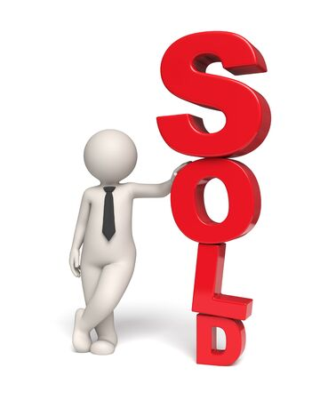 3d guy standing near a big red sold text - Isolated icon