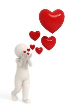 the depth: 3d guy blowing red hearts up in the air - Isolated - Depth of field and bokeh effects Stock Photo