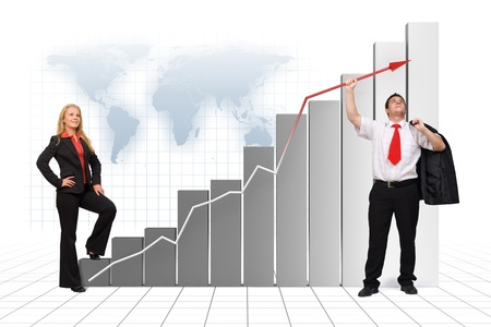 high up: Illustration of business man holding graph arrow high up - 3d image and photo combination Stock Photo