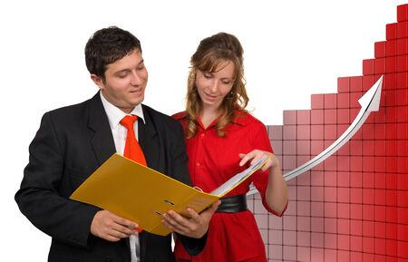succesful: Succesful business team discussing the agenda - 3d rendered background
