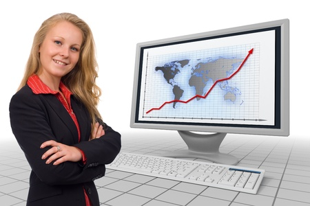 Photo of a young business woman combined with a 3d rendered monitor and keyboard showing financial growth chart Stock Photo - 10788736