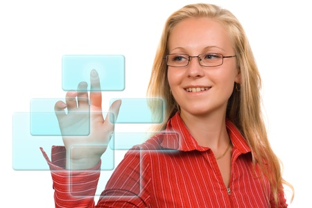 Blond business woman pushing a blue Hi-tech button Stock Photo - 10788725
