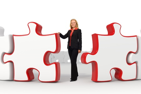 Combination of photo and 3d rendered image of a young business woman standing near two big red puzzles with copyspace Stock Photo - 10788753