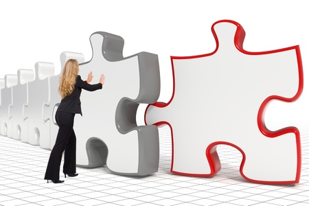 3d rendered image combined with a photo of a blond business woman pushing the puzzle - Copyspace Stock Photo - 10788719