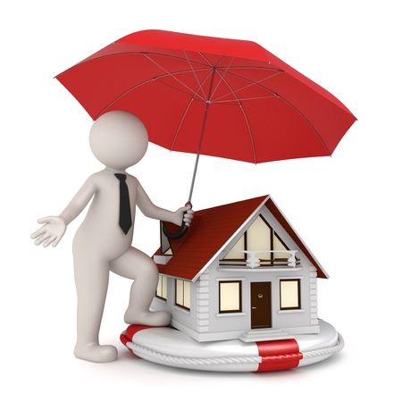 protecting: 3d illustration of house protection with a white 3d guy holding an umbrella over a house on a lifebuoy - Isolated