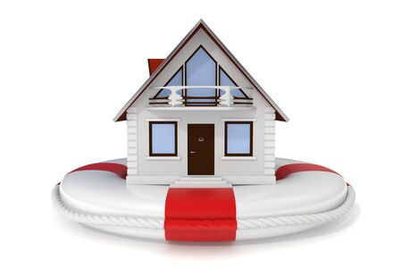 3d rendered nice detailed house sitting on a white lifebuoy representing house Stock Photo