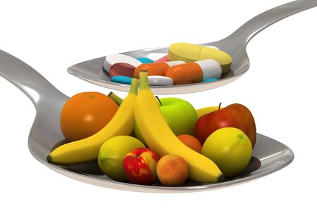 Healty nutrition instead of a spoon of pills - concept - Isolated