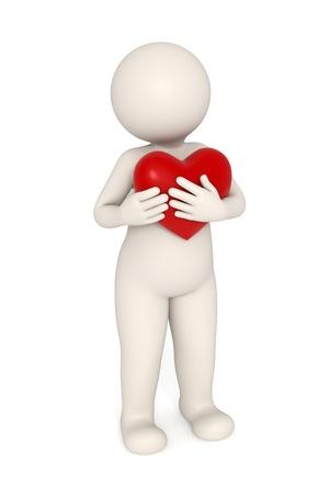 hartje cartoon: 3d melancholische man knuffelen een rood hart - Geïsoleerd