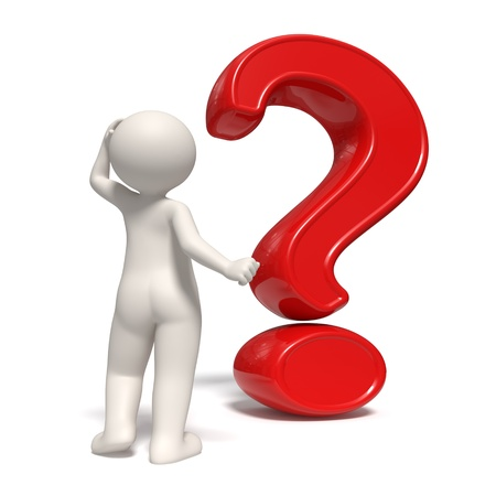 3d guy thinking in front of a big question mark scraping his head - Back view - Isolated