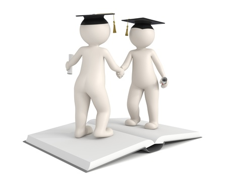 Two 3d characters shaking hands and gratulating for each others graduation