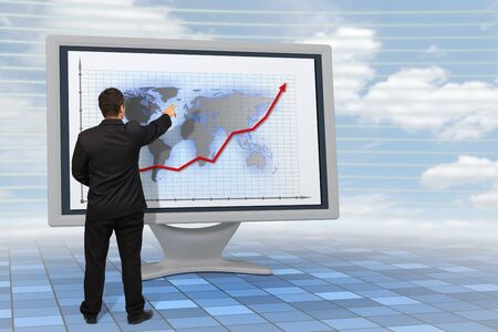 Business man showing financial growth with an earth-map background on a 3d rendered Lcd monitor Stock Photo - 10788734