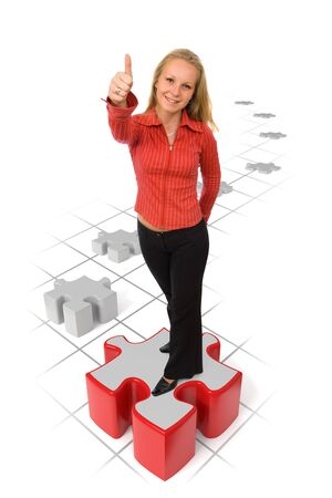 Business woman showing thumbs-up on a red puzzle piece Stock Photo - 10788751