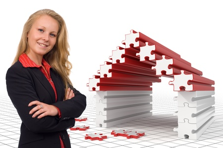 House solutions presented by a young business woman - Photo and 3d render Stock Photo - 10788733