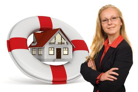 safe house: House services icon with a blond business woman - Isolated and 3d render Stock Photo