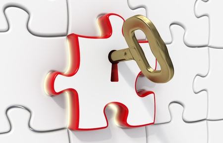 key to success: 3d rendered puzzles - one red opened with a gold key - Light effect - Solution concept