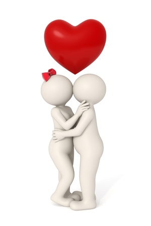 lovers kissing: 3d couple kissing and hugging each other - Isolated