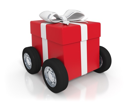 3d rendered big red gift box with wheels - Isolated