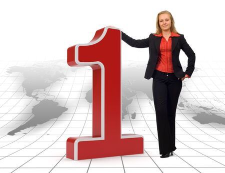 proud: Proud businesswoman standing near a 3d rendered number one symbol on a floor with earth map