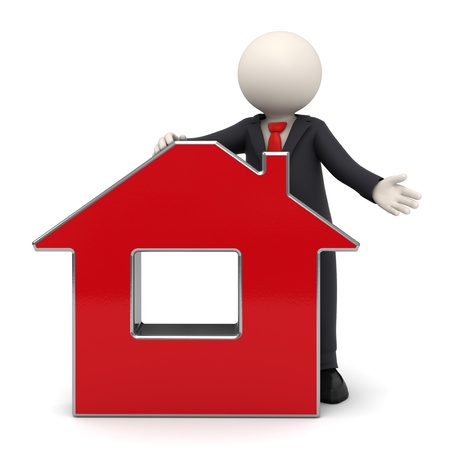 3d rendered business man in a black suit presenting a red virtual house - Isolated with soft shadows