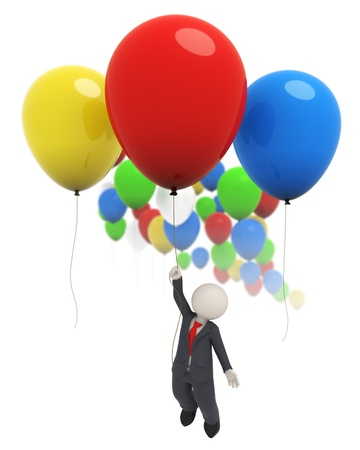 3d rendered business man flying high with a red balloon Standard-Bild