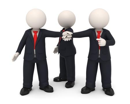 la union hace la fuerza: 3D negocios procesada personas en uniformes poniendo manos juntos todos para uno - equipo Uni�n concepto empresarial - imagen sobre fondo blanco con sombras suaves Foto de archivo