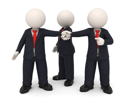 3d rendered business people in uniform putting hands together all for one - Business team union concept - Image on white background with soft shadows photo