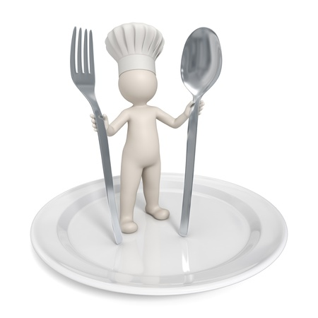 restaurant staff: 3d chef standing on a saucer with fork and spoon - Restaurant icon - Isolated Stock Photo